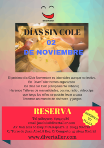 días sin cole 2 noviembre 2018